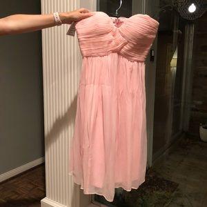 Donna Morgan blush strapless sweetheart neckline